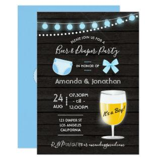 Rustic backyard Beer and Diaper Baby Boy Shower Invitations