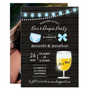 Rustic backyard Beer and Diaper Baby Boy Shower Invitation