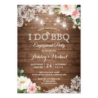 Rustic Backyard I DO BBQ Engagement Party Invitation