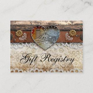 Rustic Barn Country Wedding  Gift Registry Enclosure Card