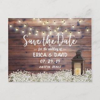 Rustic Barn Lantern String Lights Save the Date Announcement Postcard