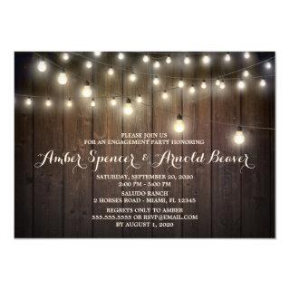 Rustic Barn String Lights Engagement Party Invitation