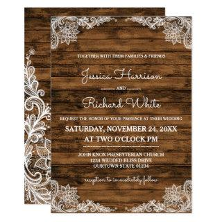 Rustic Barn Wood and Lace Wedding Invitations
