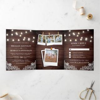 Rustic Barn Wood Lace String Lights Photo Wedding Tri-Fold Invitations