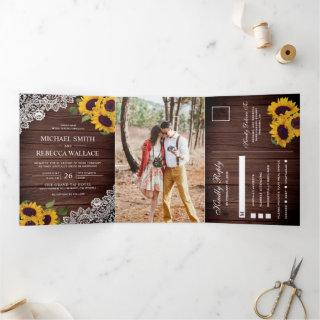 Rustic Barn Wood Lace Sunflower Wedding Photo Tri-Fold Invitations