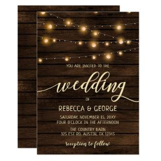Rustic Barn Wood String lights Wedding invitations
