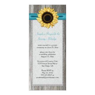 Rustic Barn Wood Sunflower Teal Ribbon Lace Invitations