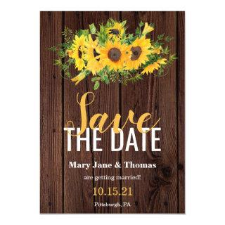 Rustic Barn Wood & Sunflowers Save the Date Invitations