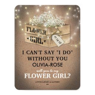 Rustic Be My Flower Girl | Elegant Twinkle Lights Invitations