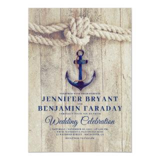 Rustic Beach - Nautical Navy Anchor Wedding Invitation