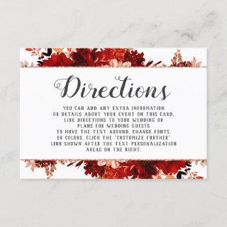 Rustic Beauty Floral Framed Wedding Directions Enclosure Card