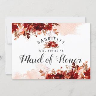 Rustic Beauty Floral Maid of Honor Proposal Card