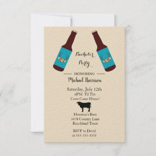 Rustic Beer Bottle Bachelor Party Invitations