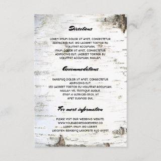 Rustic Birch Bark Wedding Details- Information Enclosure Card