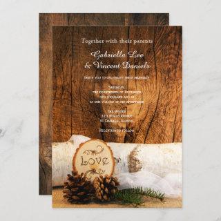 Rustic Birch Tree and Barn Wood Wedding Invitations