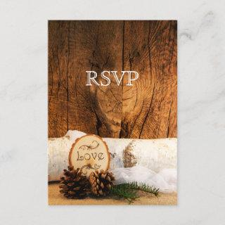 Rustic Birch Tree and Barn Wood Wedding RSVP Card