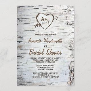 Rustic Birch Tree Bark Bridal Shower Invitations