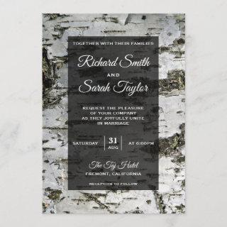Rustic Birch Tree Bark Modern Wedding Invitation