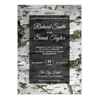 Rustic Birch Tree Bark Modern Wedding Invitations