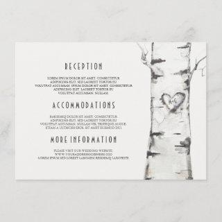 Rustic Birch Tree Watercolor Wedding Information Enclosure Card