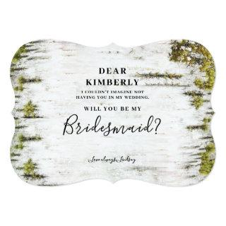 Rustic Birch Will You Be My Bridesmaid Invitations