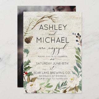 Rustic Birch Winter Photo Typography Party Invitations
