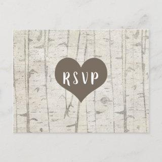 Rustic Birch Wood wedding rsvp buffet Invitations Postcard