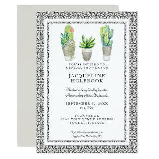 Rustic Black and White Urban Desert Cactus Theme Invitation