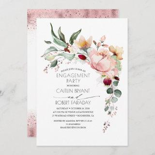 Rustic Bloom Boho Pink Gold Engagement Party Invitation