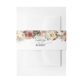 Rustic Bloom Fall Flowers and Greenery Wedding Invitations Belly Band