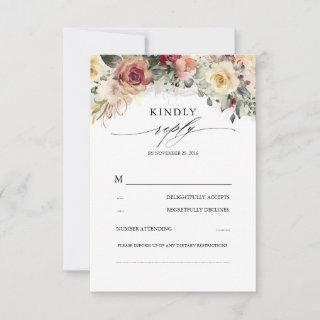 Rustic Bloom Fall Inspired Beautiful Wedding RSVP Card