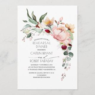 Rustic Bloom Pink Gold Fall Rehearsal Dinner
