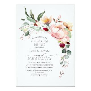 Rustic Bloom Pink Gold Fall Rehearsal Dinner Invitations