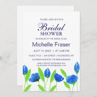 Rustic blue flowers. Airy Bridal Shower. Floral