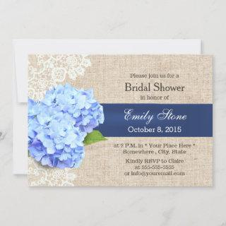 Rustic Blue Hydrangea Lace & Burlap Bridal Shower Invitations