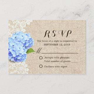 Rustic Blue Hydrangea Lace & Burlap Wedding RSVP