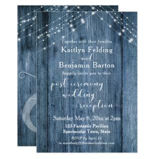 Rustic Blue & Lights Post-Wedding Reception Only Invitations