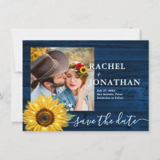 Rustic Blue Sunflower Photo Wedding Save The Date