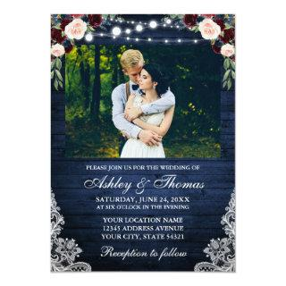 Rustic Blue Wedding Floral Wood Lights Lace Photo Invitations
