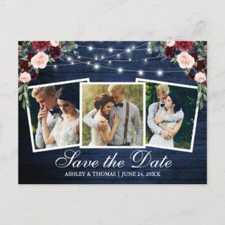 Rustic Blue Wood Floral 3 Photo Save The Date Invitations Postcard