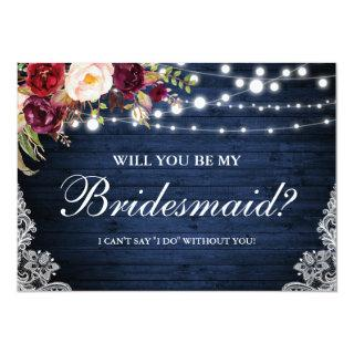 Rustic Blue Wood Lights Lace Floral Bridesmaid Invitations