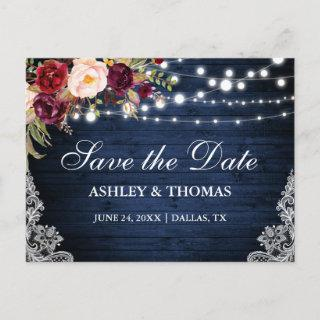 Rustic Blue Wood Lights Lace Floral Save the Date Announcement Postcard