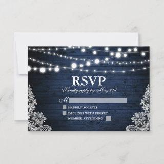 Rustic Blue Wood Lights Lace Wedding RSVP Card