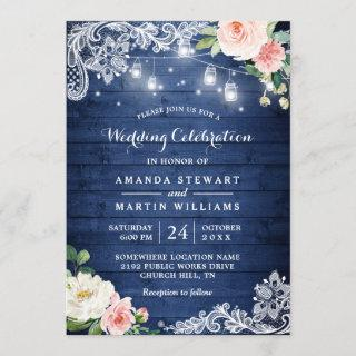 Rustic Blue Wood String Lights Floral Wedding Invitation