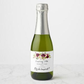 Rustic Blush Burgundy Floral Bridesmaid Proposal Champagne Label