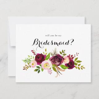 Rustic Blush Burgundy Floral Bridesmaid Proposal Note Card