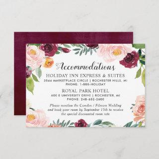 Rustic Blush Burgundy Floral Wreath Accommodations Enclosure Card
