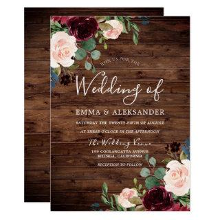Rustic Blush & Burgundy Red Wine Flowers Wedding Invitation