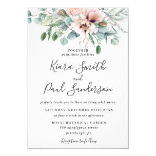 Rustic Blush Dusty Pink Floral Eucalyptus Wedding Invitations