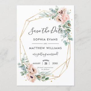 Rustic Blush Floral Eucalyptus Gold Save the Date Invitation